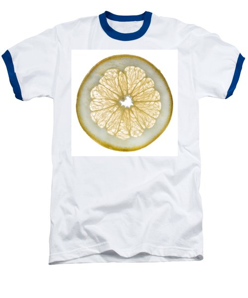 White Grapefruit Slice Baseball T-Shirt by Steve Gadomski
