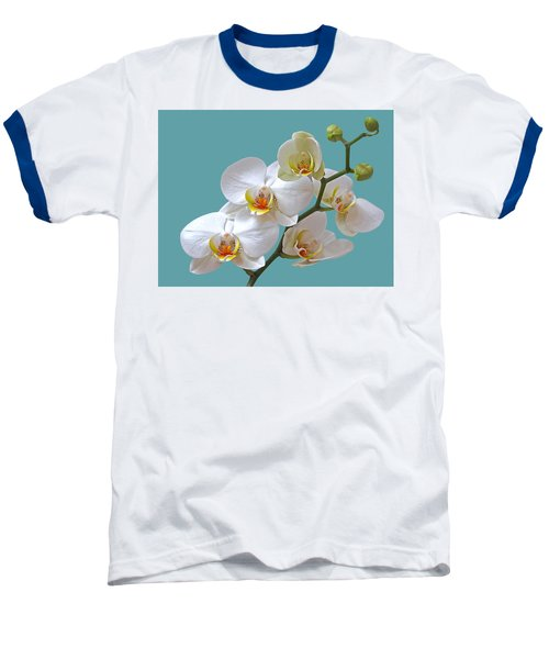 White Orchids On Ocean Blue Baseball T-Shirt by Gill Billington