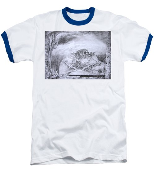 Baseball T-Shirt featuring the drawing Ymir At Rest by Otto Rapp