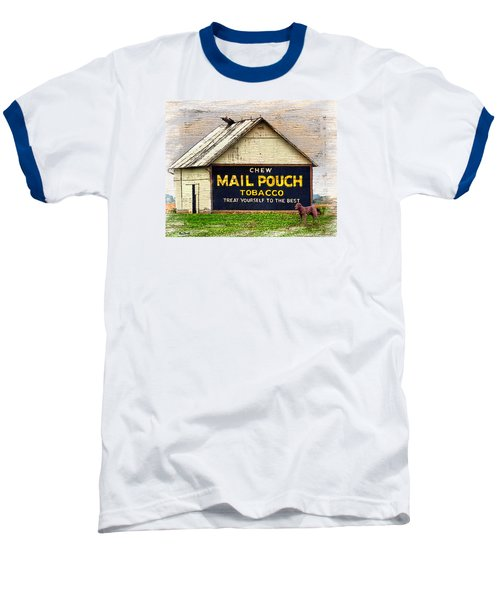 Baseball T-Shirt featuring the digital art Mail Pouch Barn by Mary Almond
