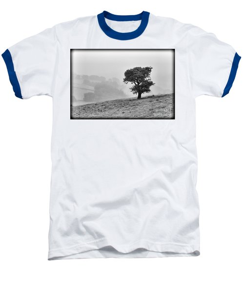 Baseball T-Shirt featuring the photograph Oak Tree In The Mist. by Clare Bambers