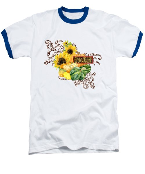 Celebrate Abundance - Harvest Fall Pumpkins Squash N Sunflowers Baseball T-Shirt by Audrey Jeanne Roberts