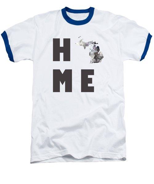 Michigan State Map Baseball T-Shirt by Marlene Watson