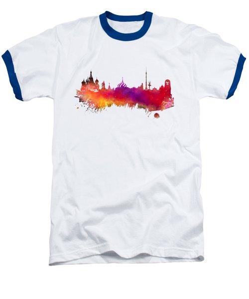 Moscow Skyline Baseball T-Shirt by Justyna JBJart