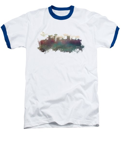Seattle Washington Skyline Baseball T-Shirt by Justyna JBJart