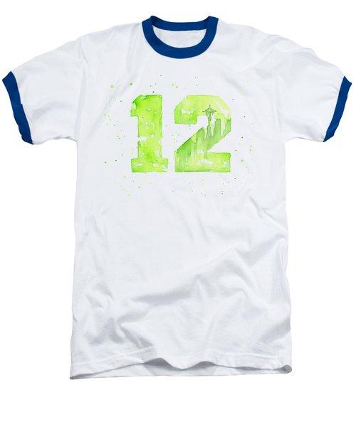 12th Man Seahawks Art Go Hawks Baseball T-Shirt by Olga Shvartsur