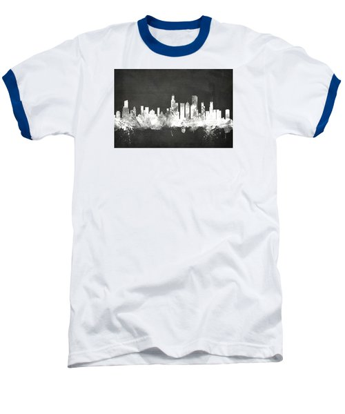 Chicago Illinois Skyline Baseball T-Shirt by Michael Tompsett
