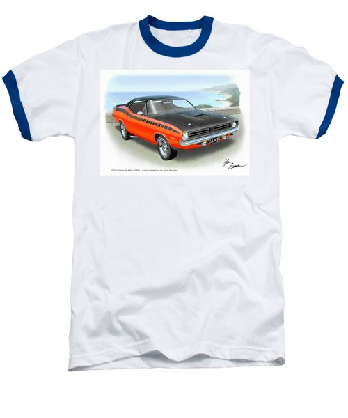 1970 Barracuda Aar  Cuda Classic Muscle Car Baseball T-Shirt by John Samsen