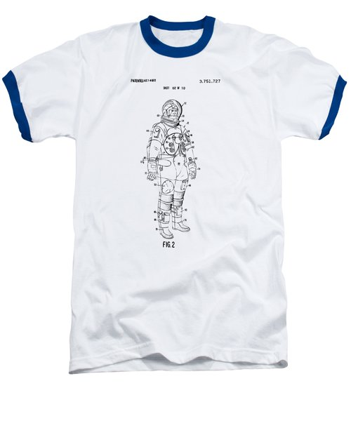 1973 Astronaut Space Suit Patent Artwork - Vintage Baseball T-Shirt by Nikki Marie Smith