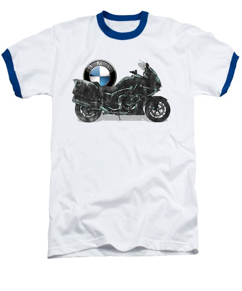 Baseball T-Shirt featuring the digital art 2016 Bmw-k1600gt Motorcycle With 3d Badge Over Vintage Blueprint  by Serge Averbukh