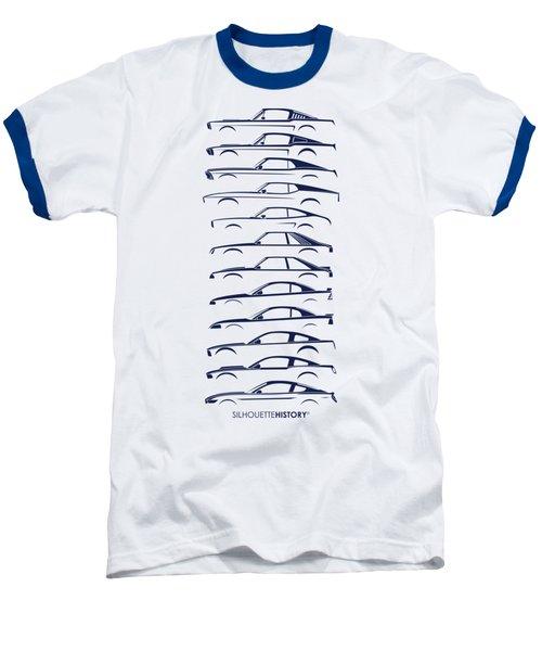 Ford Mustang Silhouettehistory Baseball T-Shirt by Gabor Vida