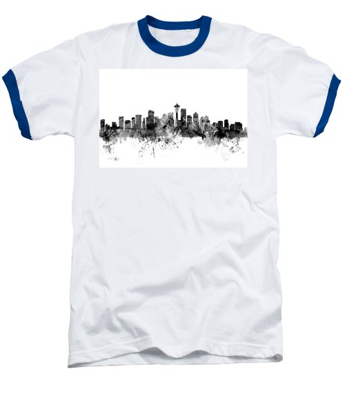 Seattle Washington Skyline Baseball T-Shirt by Michael Tompsett