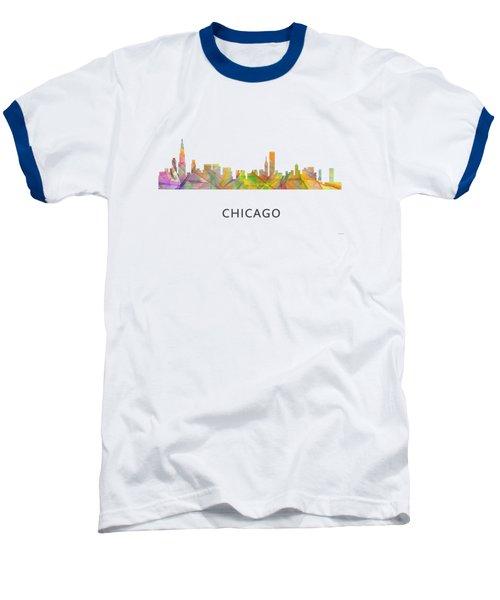 Chicago Illinois Skyline Baseball T-Shirt by Marlene Watson