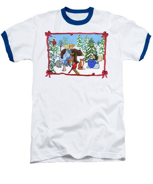 A Christmas Scene 2 Baseball T-Shirt by Sarah Batalka