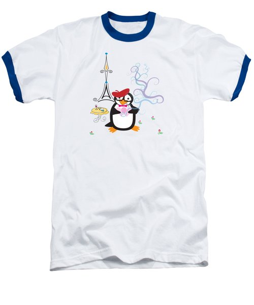 A Penguin In Paris Baseball T-Shirt by Jane E Rankin