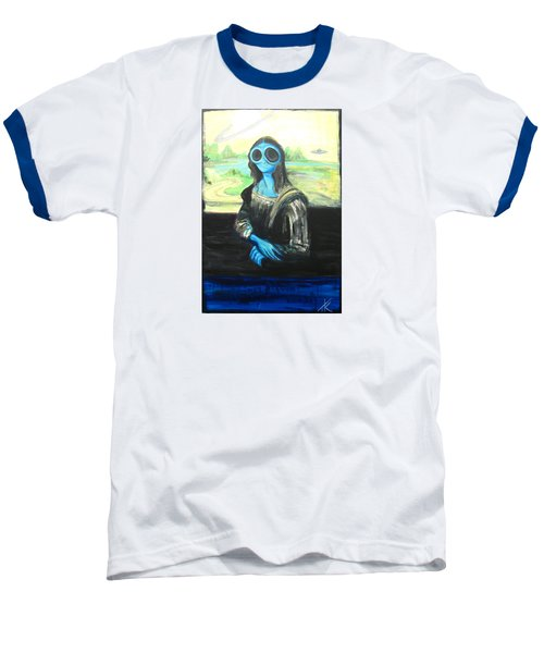 Baseball T-Shirt featuring the painting alien Mona Lisa by Similar Alien