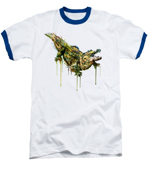 Alligator Watercolor Painting Baseball T-Shirt by Marian Voicu