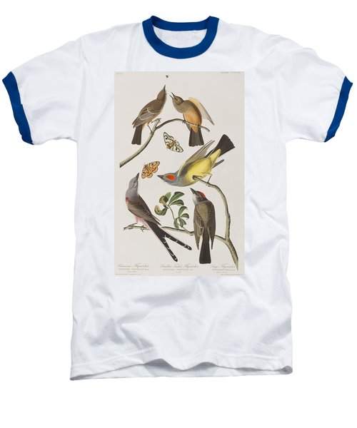 Arkansaw Flycatcher Swallow-tailed Flycatcher Says Flycatcher Baseball T-Shirt by John James Audubon