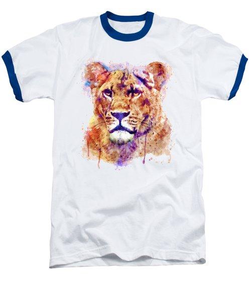 Lioness Head Baseball T-Shirt by Marian Voicu