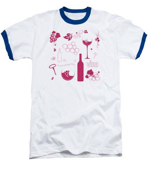 Wine Background Pattern Baseball T-Shirt by Serena King