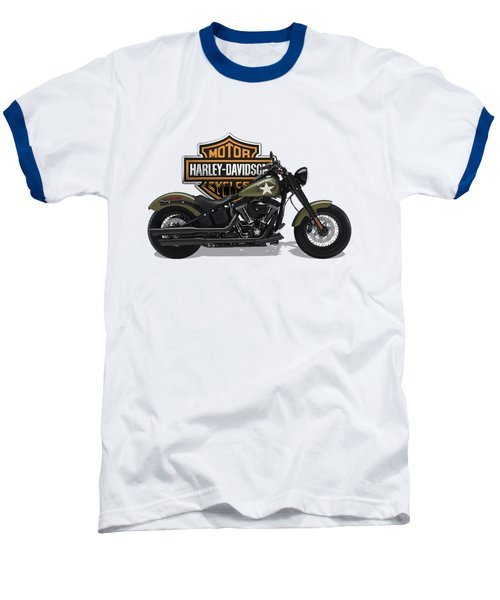 Baseball T-Shirt featuring the digital art 2017 Harley-davidson Softail Slim S Motorcycle With 3d Badge Over Vintage Background  by Serge Averbukh