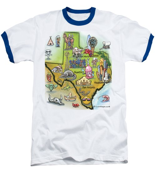 Baseball T-Shirt featuring the digital art Texas Cartoon Map by Kevin Middleton