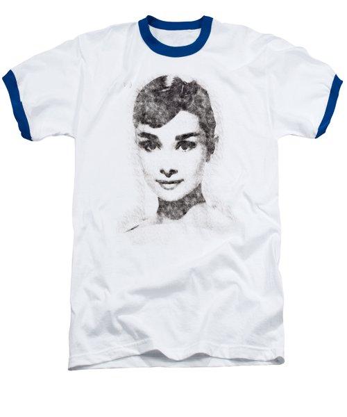 Audrey Hepburn Portrait 02 Baseball T-Shirt by Pablo Romero
