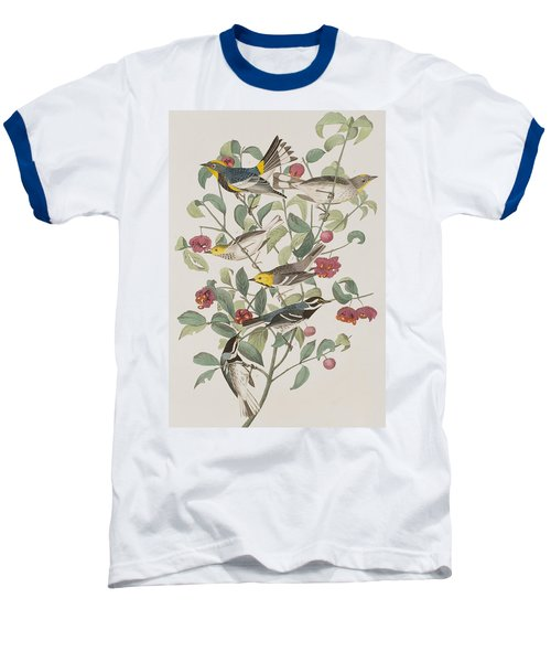 Audubons Warbler Hermit Warbler Black-throated Gray Warbler Baseball T-Shirt by John James Audubon