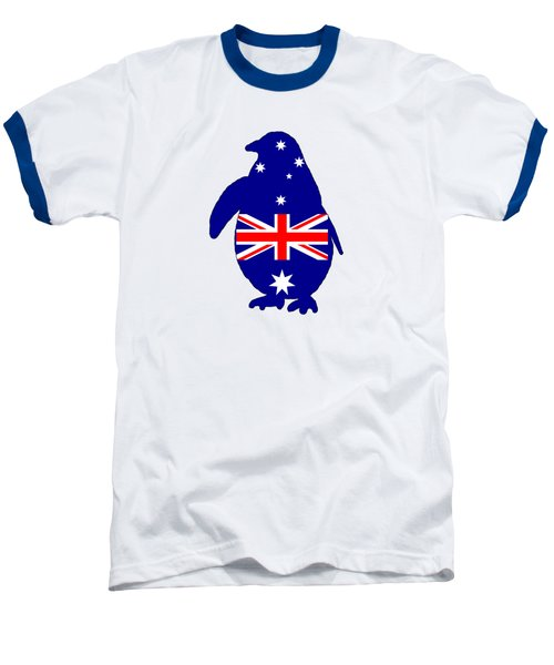 Australian Flag - Penguin Baseball T-Shirt by Mordax Furittus