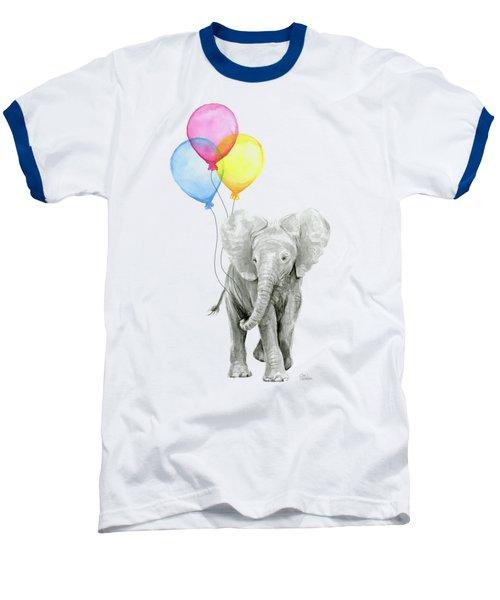 Baby Elephant With Baloons Baseball T-Shirt by Olga Shvartsur