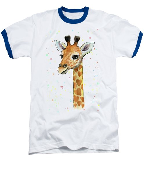 Baby Giraffe Watercolor With Heart Shaped Spots Baseball T-Shirt by Olga Shvartsur
