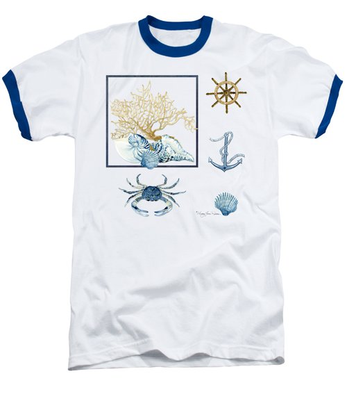 Beach House Nautical Seashells Ships Wheel Anchor N Crab Baseball T-Shirt by Audrey Jeanne Roberts