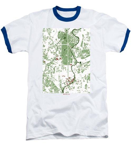 Berlin Minimal Map Baseball T-Shirt by Jasone Ayerbe- Javier R Recco