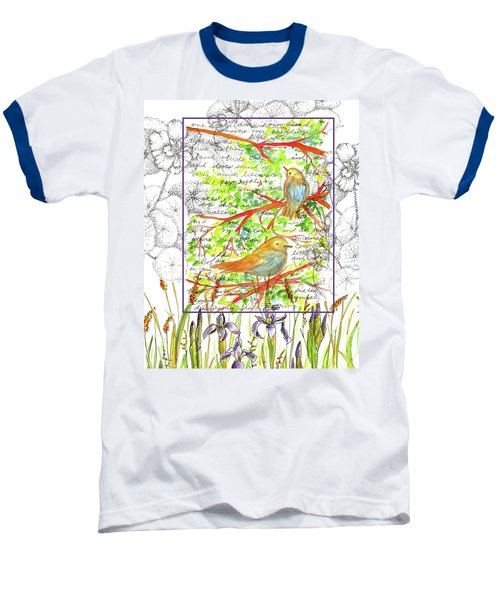 Baseball T-Shirt featuring the painting Bluebirds Nature Collage by Cathie Richardson