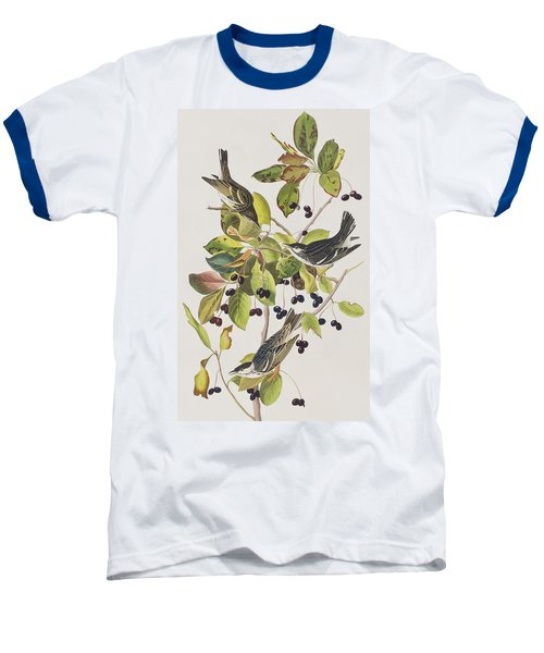 Black Poll Warbler Baseball T-Shirt by John James Audubon