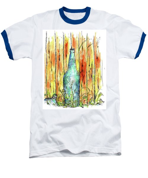 Baseball T-Shirt featuring the painting Blue Bottle by Cathie Richardson