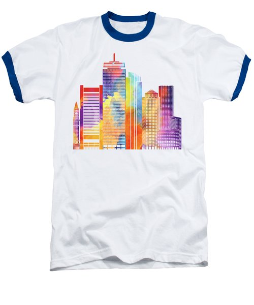 Boston Landmarks Watercolor Poster Baseball T-Shirt by Pablo Romero