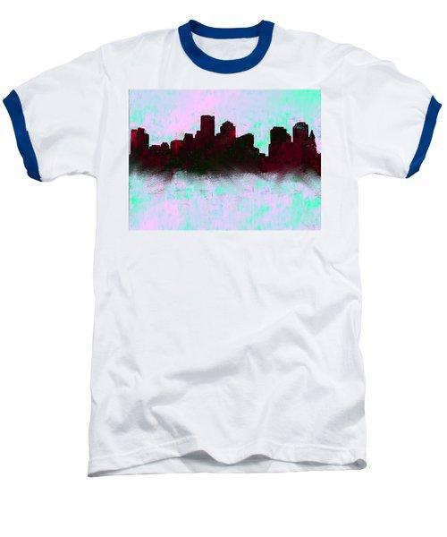 Boston Skyline Sky Blue  Baseball T-Shirt by Enki Art