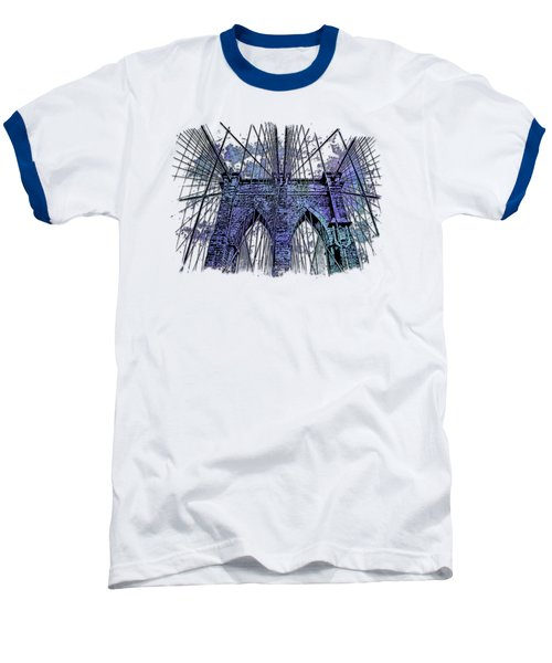Brooklyn Bridge Berry Blues 3 Dimensional Baseball T-Shirt by Di Designs