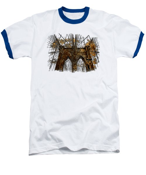 Brooklyn Bridge Earthy 3 Dimensional Baseball T-Shirt by Di Designs