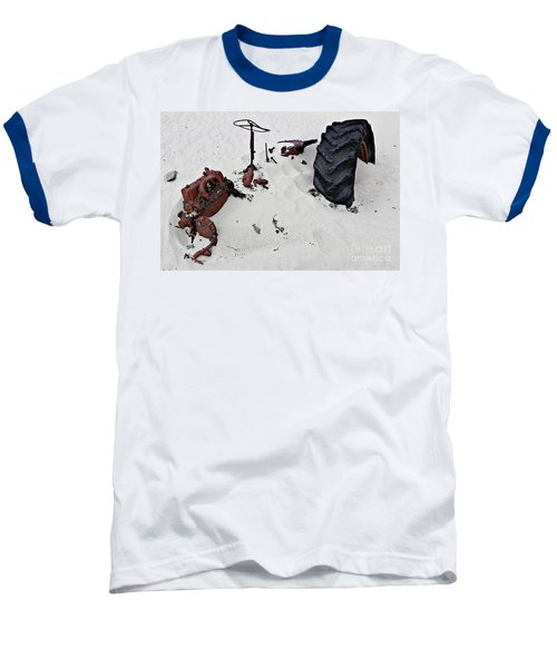 Baseball T-Shirt featuring the photograph Buried Up To The Wheels by Stephen Mitchell