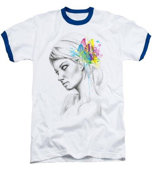 Butterfly Queen Baseball T-Shirt by Olga Shvartsur