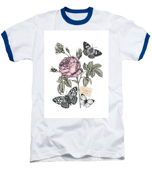 Cabbage Rose Baseball T-Shirt by Stephanie Davies