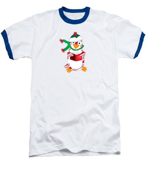 Candy Cane Penguin Baseball T-Shirt by Jane E Rankin