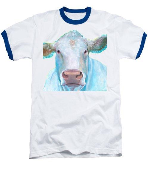 Charolais Cow Painting On White Background Baseball T-Shirt by Jan Matson
