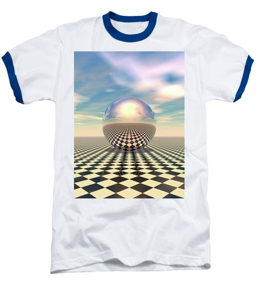 Baseball T-Shirt featuring the digital art Checker Ball by Phil Perkins