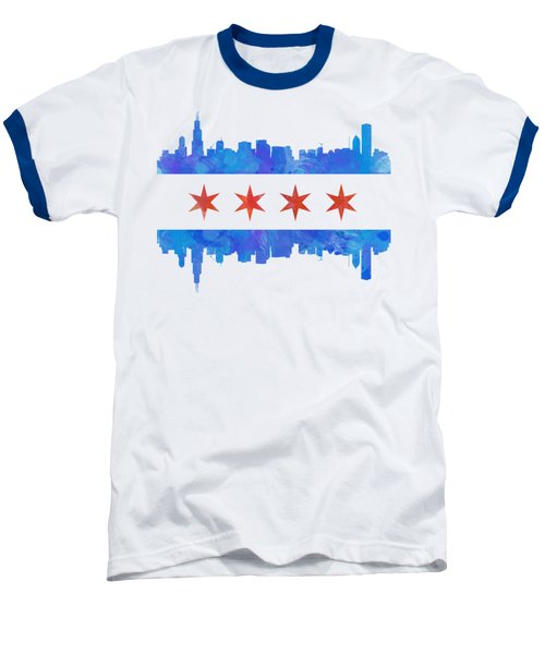 Chicago Flag Watercolor Baseball T-Shirt by Mike Maher