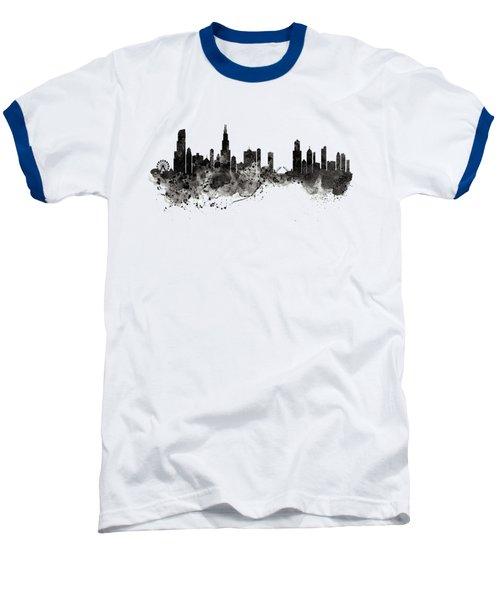 Chicago Skyline Black And White Baseball T-Shirt by Marian Voicu