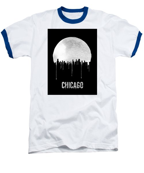 Chicago Skyline Black Baseball T-Shirt by Naxart Studio