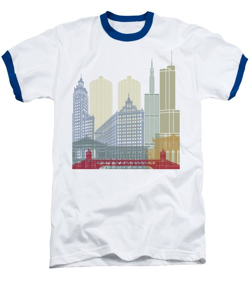Chicago Skyline Poster Baseball T-Shirt by Pablo Romero